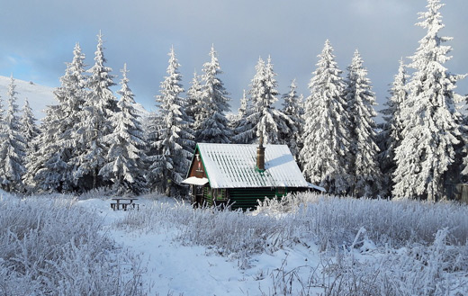 Snowy country chalet jigsaw puzzle