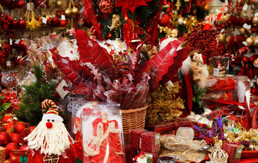 Christmas decorations in a store