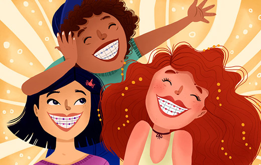 Kids braces cartoon jigsaw.