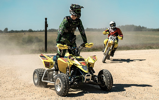 Yellow motorcycle quad
