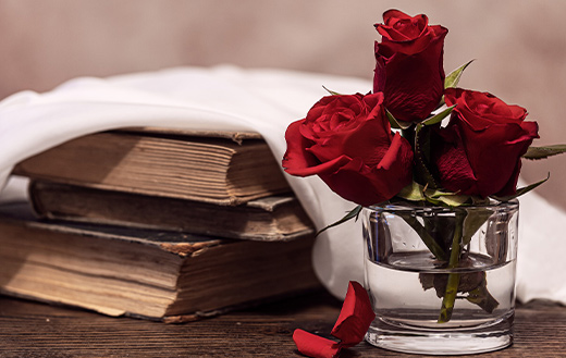 Roses red old books wedding