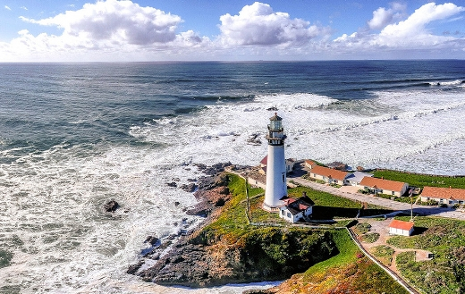 Pacific California coastline lighthouse