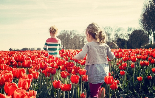 Children in tulips jigsaw