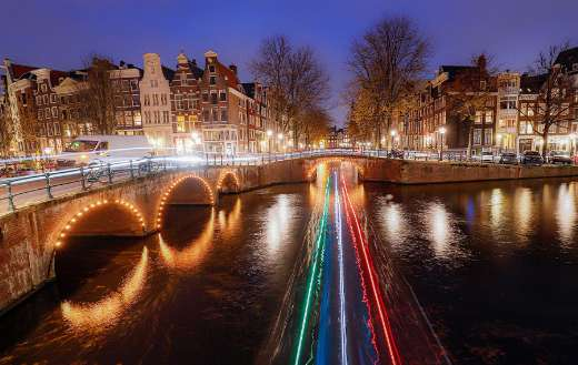Amsterdam channels canals night