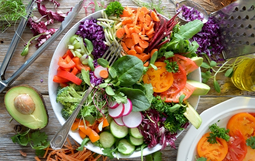Close up photo of vegetable salad Montreal Canada