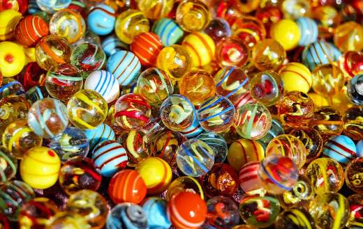 Glass marbles colorful