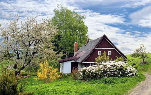 Home house cottage spring landscape