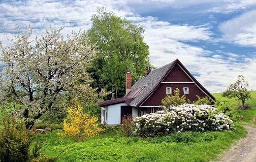 Home house cottage spring landscape