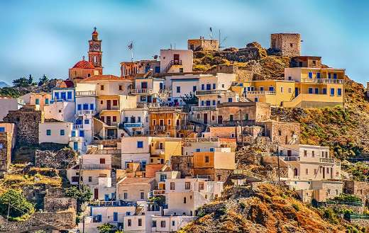 Karpathos Greece village hill architecture