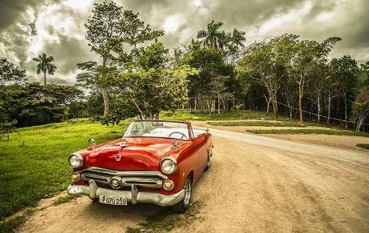 Old red car old timer travel Cuba forest online