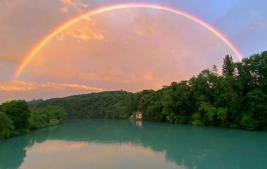 Rainbow water river trees nature online