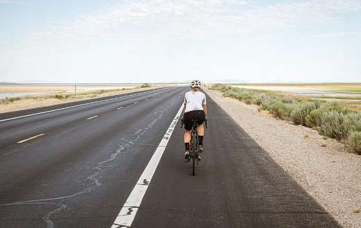 Cyclist cycling road riding