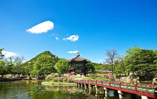 Towards the garden Gyeongbok palace roof tile online
