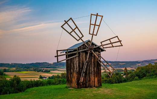 Old windmill rural landscape puzzle