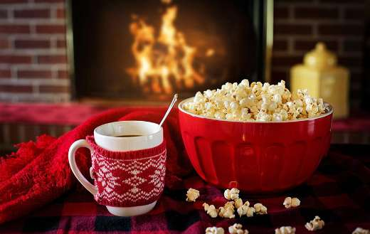Warm and cozy with popcorn coffee fire place