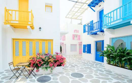 Colorful terrace buildings online