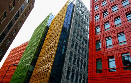 Colorful high buildings online