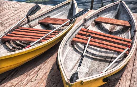 Canoes on a dock online