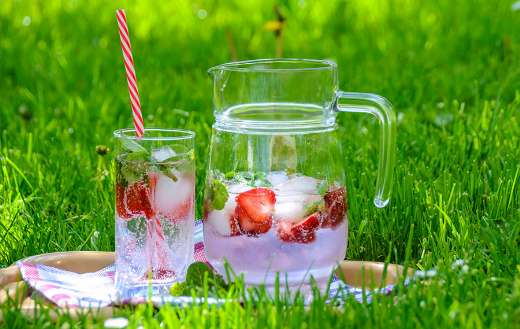Cold cool strawberry drinks