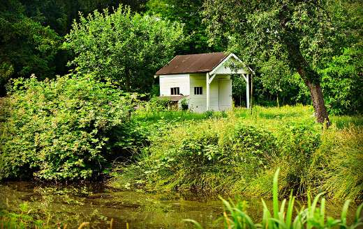 Small white cottage in nature