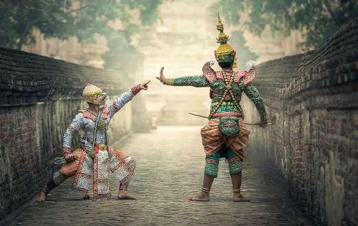 Two asian masks uniform for dance