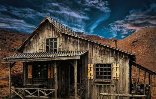 A very old wooden house
