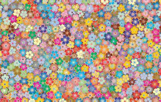 Colorful abstract flowers clip art