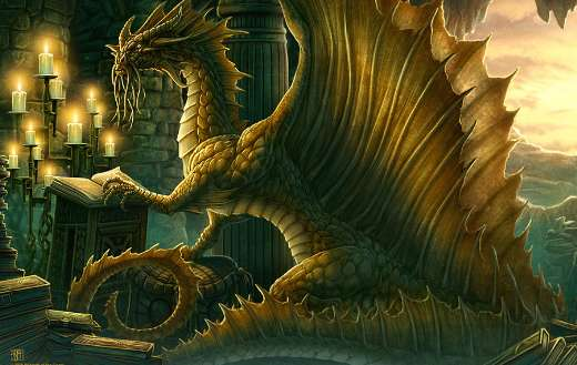 Fantasy art golden dragon online