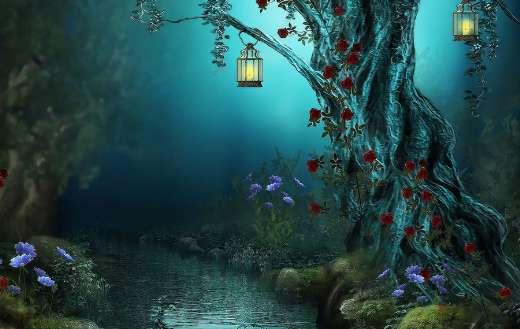 Fantasy tree lantern blue river