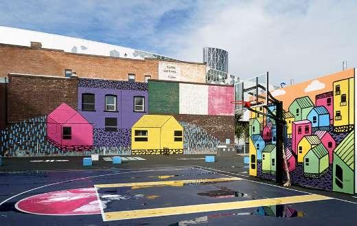 Graffiti basketball court puzzle
