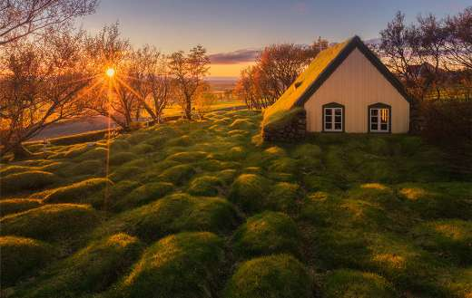 The old turf church in Hof south east Iceland
