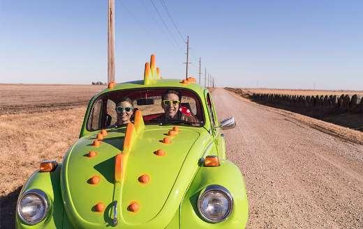 Yellow green auto desert