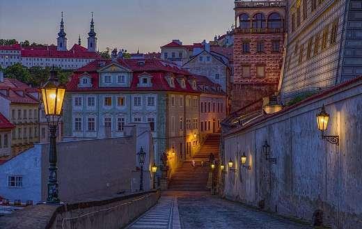Old town buildings street twilight dusk dawn