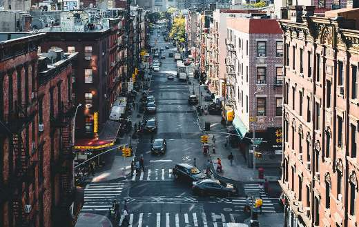 China town streets New York crossroads junction
