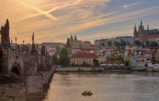 Cityscape Charles bridge Prague