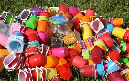 Colorful plastic cups recycling garbage waste