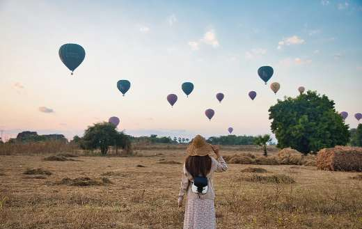 Hot air balloons in the field