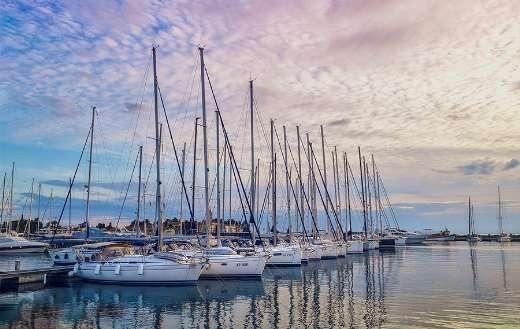 Marine yacht boats wharf sunset sunlight
