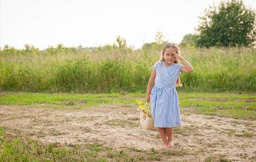 Meadow grass girl kid model