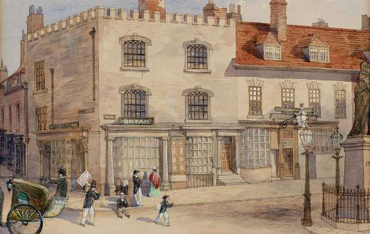 Painting of gray and brown building puzzle