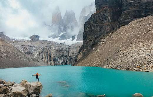 Torres Del Paine lake mountain tourism