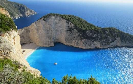 Beach cliff bay blue ocean online
