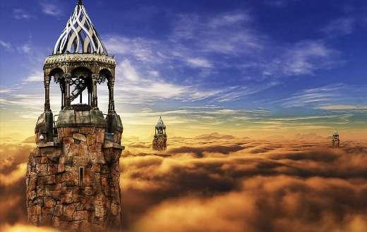 Fantasy castle in the sky