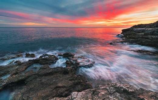 Sea nature under sunset sunrise