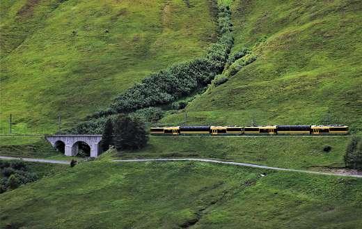 Train railway mountain bridge Jungfrau Alpine