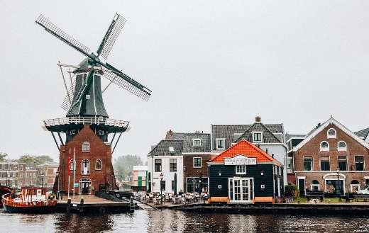 Holland Netherlands river windmill
