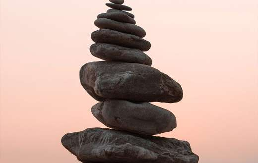 Close up photo cairn stone balance