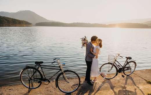 Romantic happy couple kissing